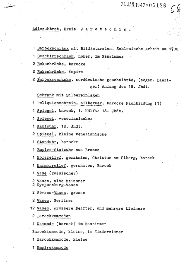 German list of cultural property in the Czarneckis' palace in Rusko